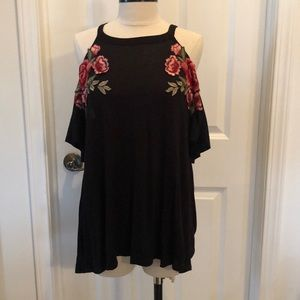 Black cold shoulder top with floral embroidery